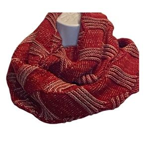2 LEFT! Red and white large knit infinity scarf